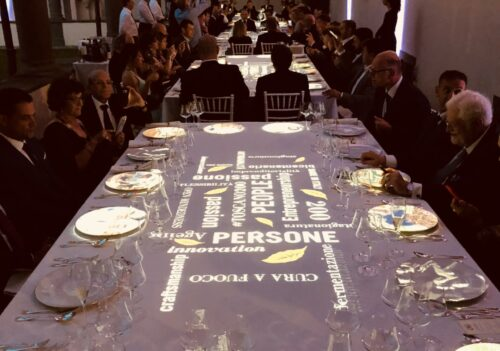 Manifatture Sigaro Toscano 2018 – Lucca – Incentive Tour, Gala Dinner (Chef Cristiano Tomei) con table mapping e Jazz session.